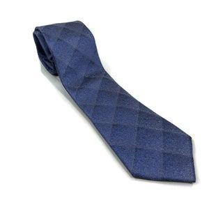Calvin Klein Mens Neck Tie Silk Plaid Blue One